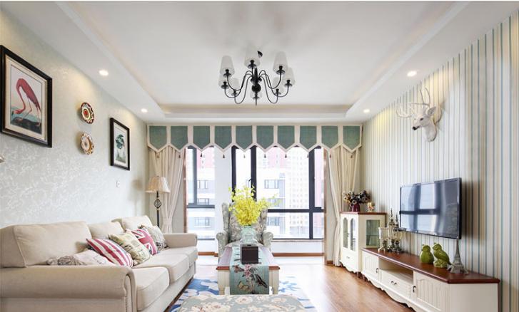 大平层美式风格装修案例,简洁明快三居室!