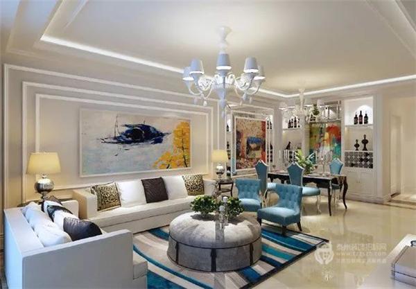 泰州宝带花园130㎡三室一厅欧式装修案例,喜欢蓝色的屋主可以看出哟~